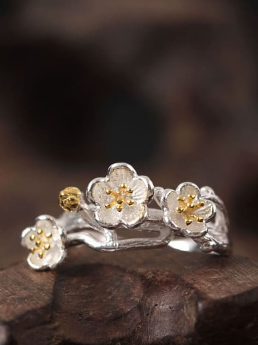 SILVER MI Flowers S925 Silver Adjustable Ring 1