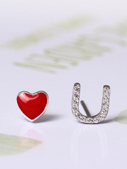 SILVER MI Sweet Love S925 Silver stud Earring 0