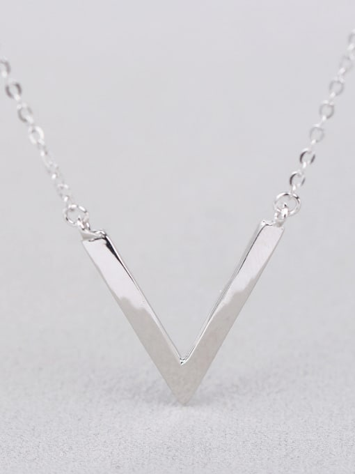 Peng Yuan Simple V-shaped Silver Women Necklace 0