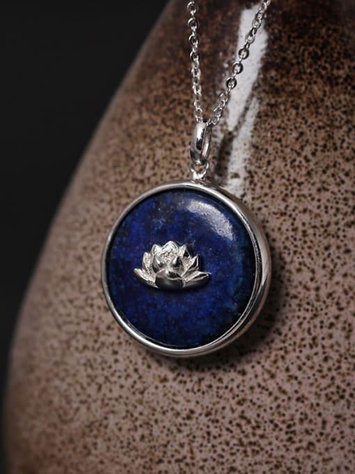 SILVER MI Beautiful Handmade Lotus Pendant Necklace 1