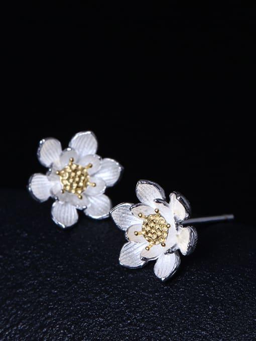 SILVER MI Fashionable Flower Women stud Earring 1