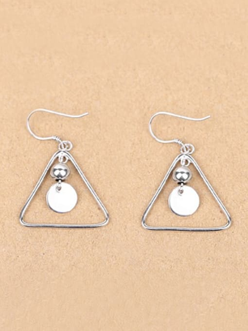Peng Yuan Simple Hollow Triangle Silver hook earring 0