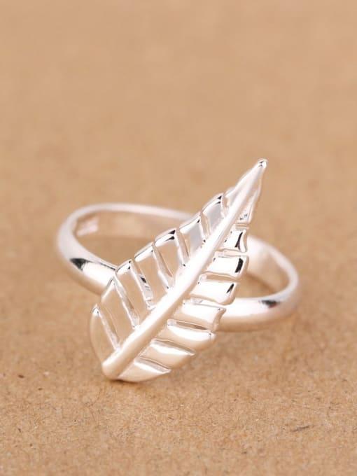 Peng Yuan Simple Leaf Silver Women Ring 0
