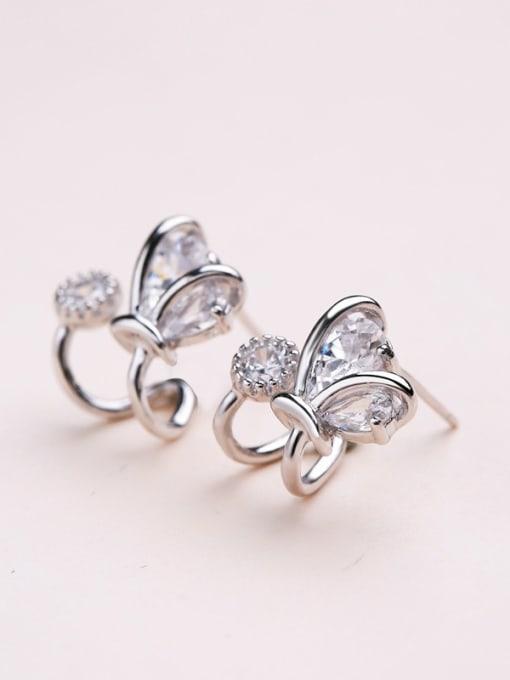 Silvery All-match Geometric Shaped Zircon stud Earring