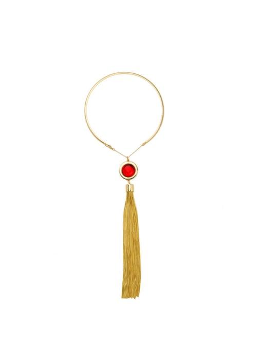 KM Long Tassel Pendant Women' s Necklace