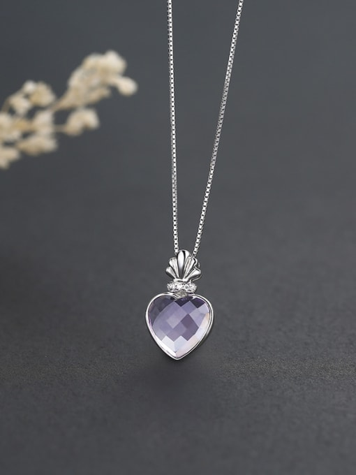 One Silver Purple Heart Shaped Zircon 1