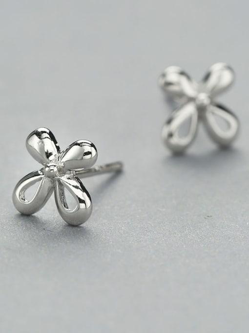 One Silver Women 925 Silver Flower Shaped cuff earring 2