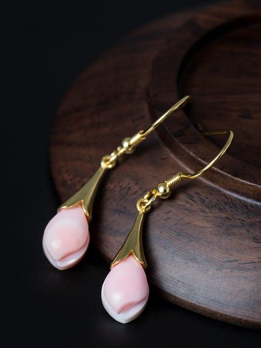 SILVER MI Beautiful Magnolia Flowers Drop hook earring 0