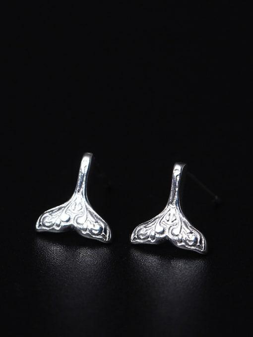 SILVER MI Creative Personality Mermaid Stud Earrings 0