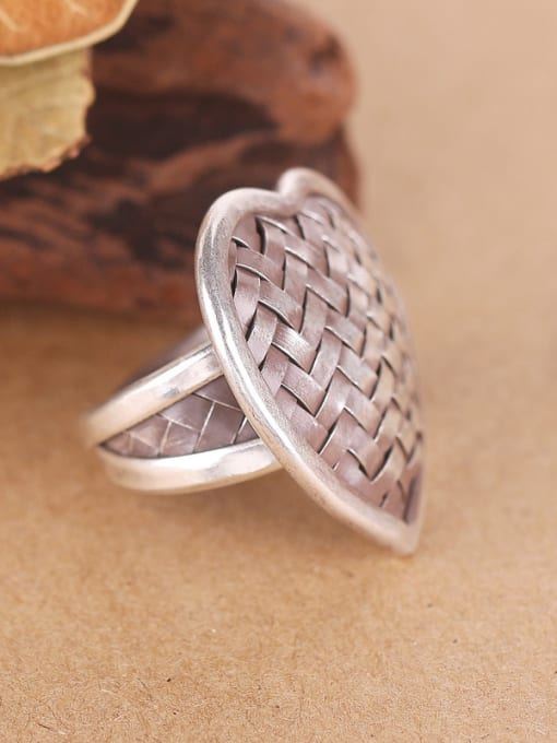 Peng Yuan Heart-shaped Woven Handmade Silver Ring 1