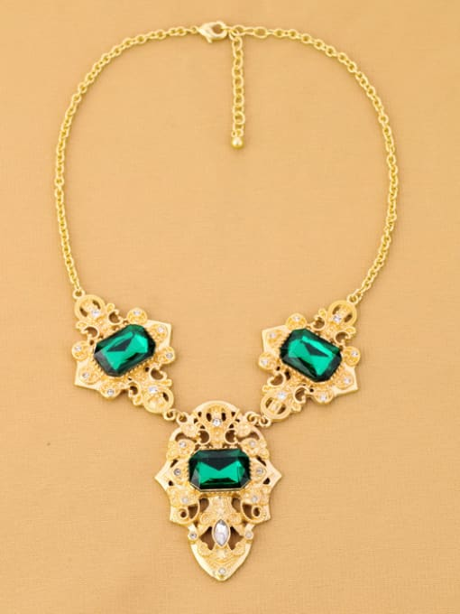 KM Personality Green Stones Alloy Necklace 2