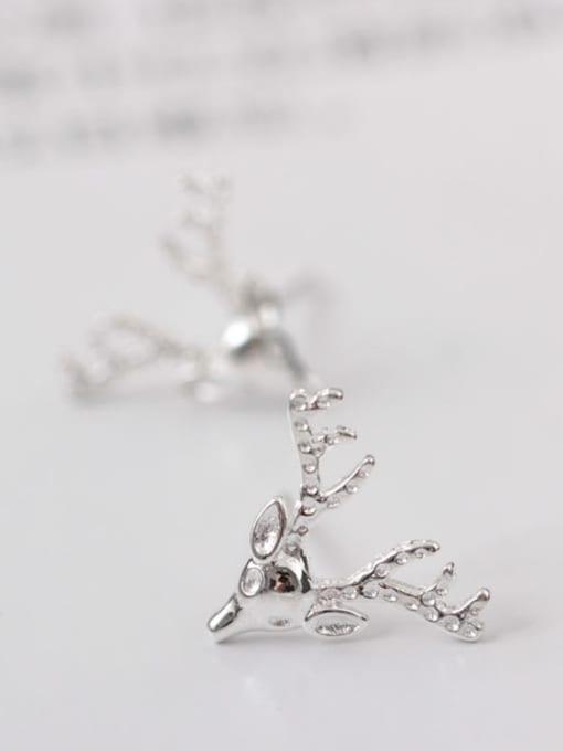 SILVER MI Lovely Deer Head-shape Christmas Stud cuff earring 1