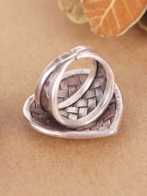 Peng Yuan Heart-shaped Woven Handmade Silver Ring 2