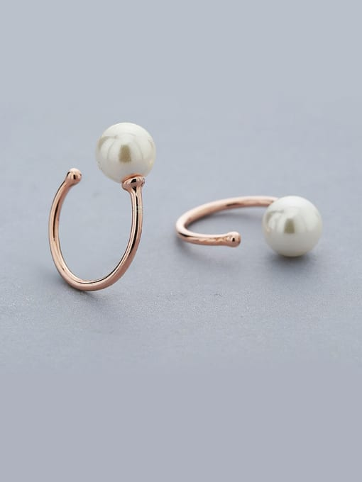 One Silver Rose Gold Plated C Shaped Pearl Earrings