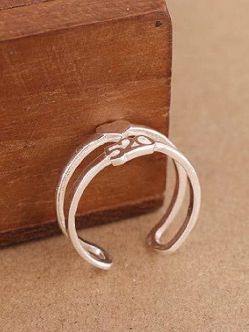 Peng Yuan Two-band Heart shaped Opening Ring 2