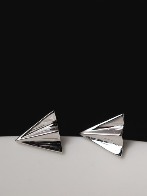 SILVER MI S925 Silver Aircraft Stud Earrings 0