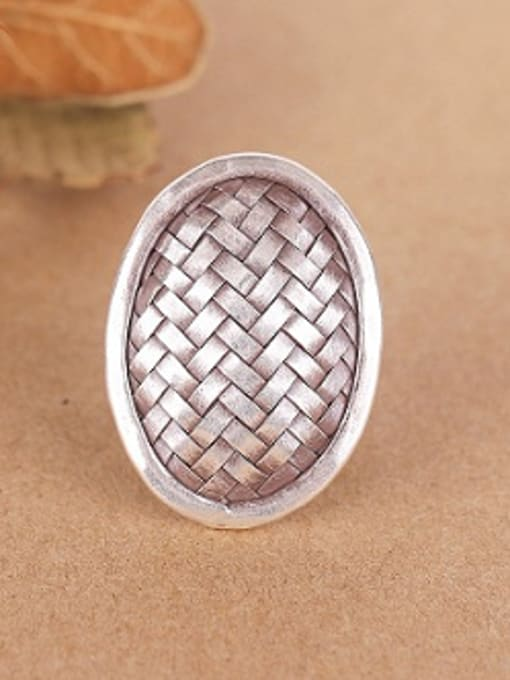 Peng Yuan Exaggerated Oval Woven Silver Ring 0