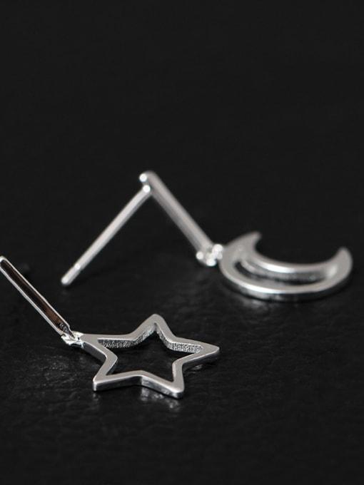 SILVER MI S925 Silver Hollow Moon Star drop earring 1
