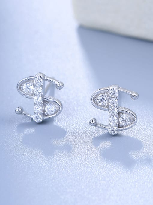 One Silver Fashion Style S Shaped Stud Earrings 0