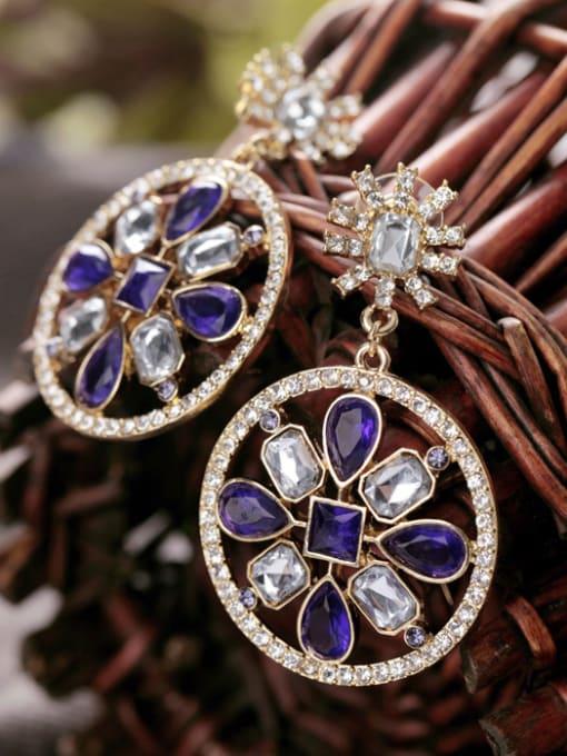 KM Purple Stones Round drop earring 1