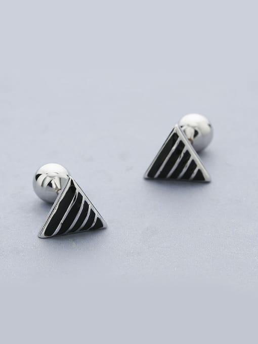 One Silver Fashion Triangle Shaped Stud Earrings 0