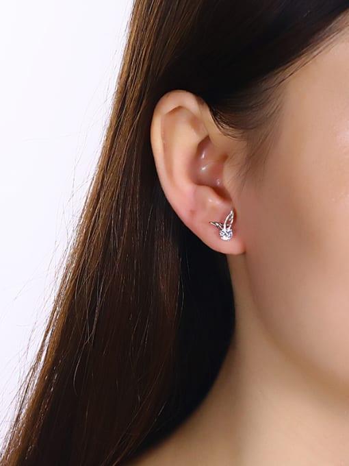 One Silver Women wing Shaped Zircon cuff earring 1