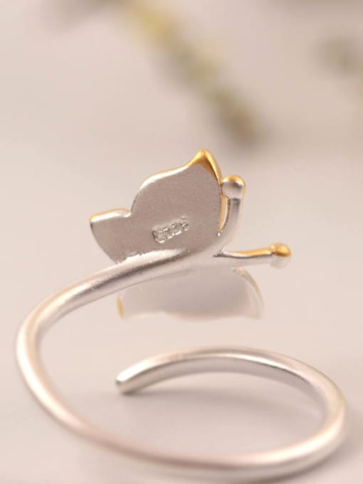 SILVER MI Two Color Plated Butterfly Opening Ring 2