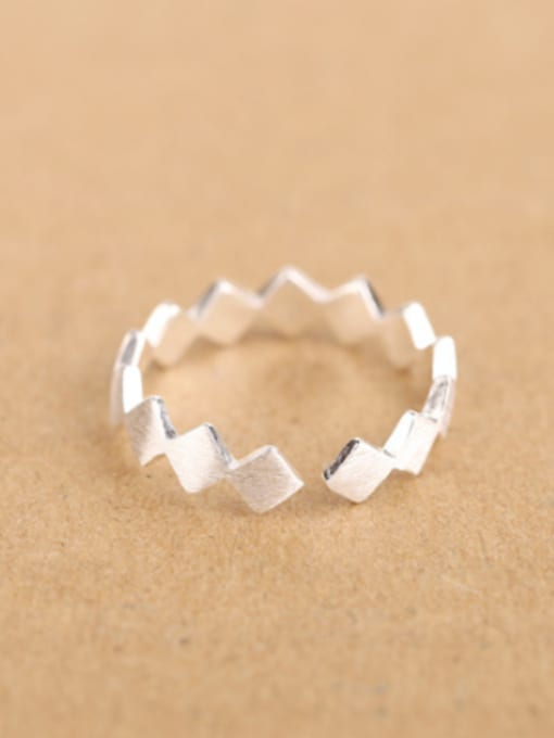 1 Simple Geometrical Silver Opening Midi Ring