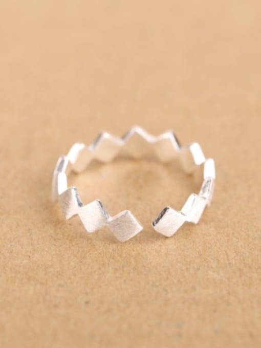 Peng Yuan Simple Geometrical Silver Opening Midi Ring 0