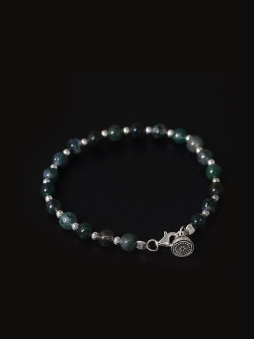 SILVER MI Retro Lotus Aquatic Agate Bracelet