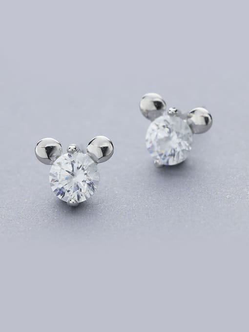 One Silver Lovely Mickey Mouse Shaped stud Earring 0