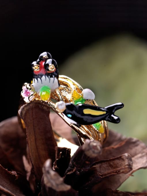 KM Lovely Swallow Lady Alloy Statement Ring 2
