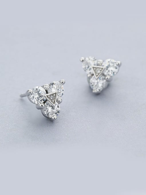 One Silver Charming Triangle Shaped Zircon Earrings