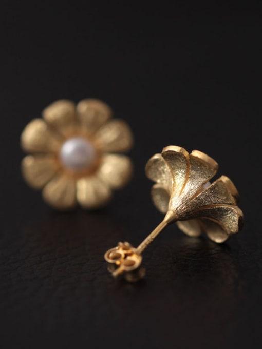 SILVER MI Freshwater Pearls Flower Women stud Earring 2