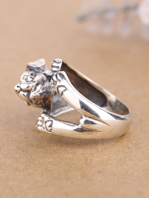 Peng Yuan Personalized Puppy Silver Opening Statement Ring 1