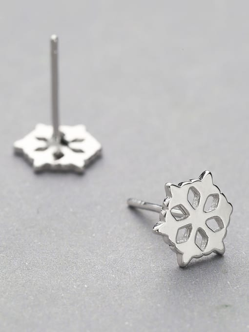 One Silver Temperament Hollow Flower Shaped Earrings 2