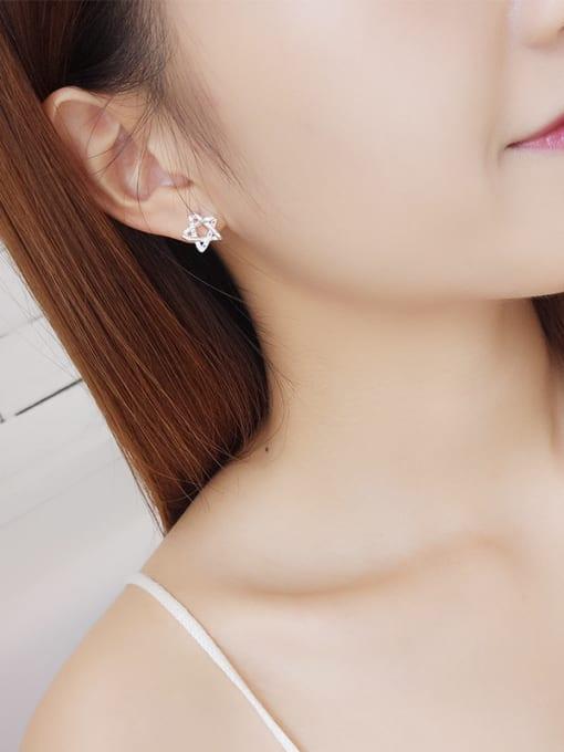 One Silver Women Elegant Star Shaped Zircon stud Earring 1