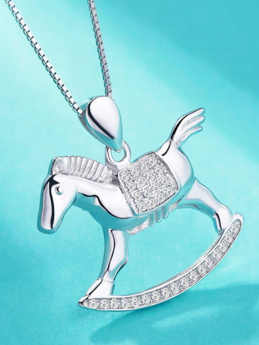 One Silver 925 Silver Horse Shaped Pendant 2
