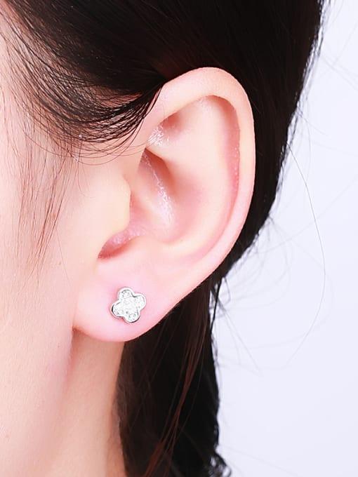 One Silver Women Clover Shaped Zircon Earrings 1
