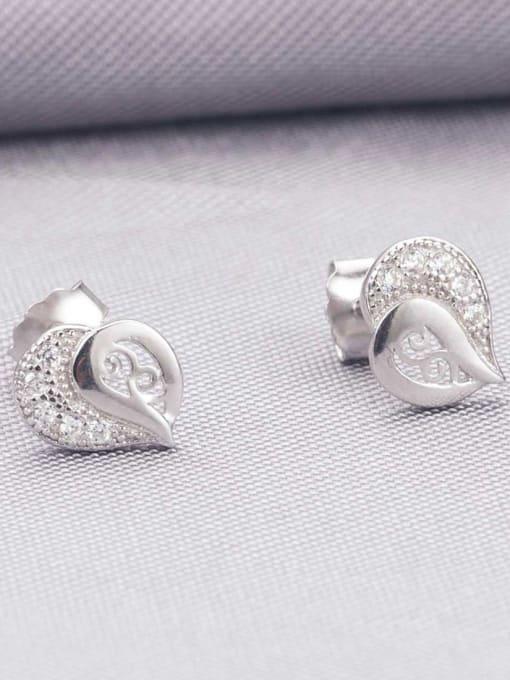 One Silver All-match 925 Silver Geometric Zircon Earrings 1