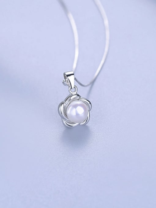 One Silver 925 Silver Flower Pearl Pendant 2