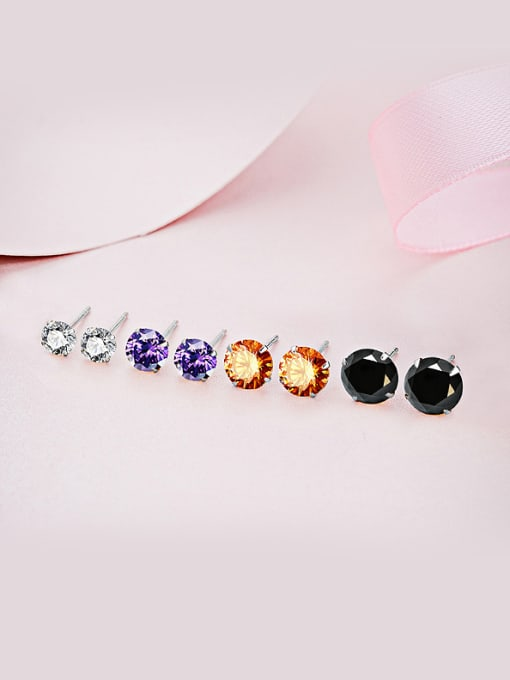 One Silver 2018 925 Silver Round Shaped Zircon stud Earring 1