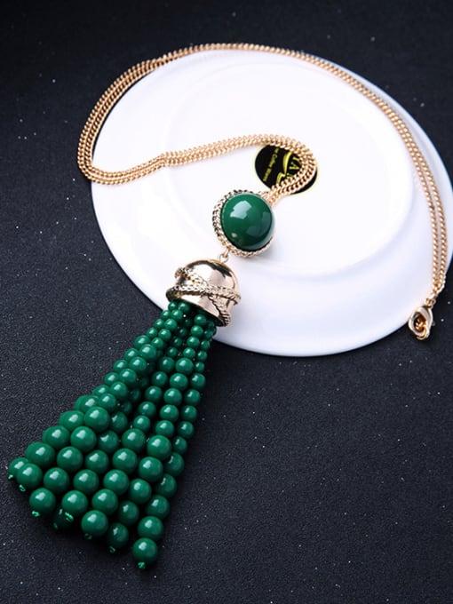 KM Long Tassel Stones weater Necklace 3