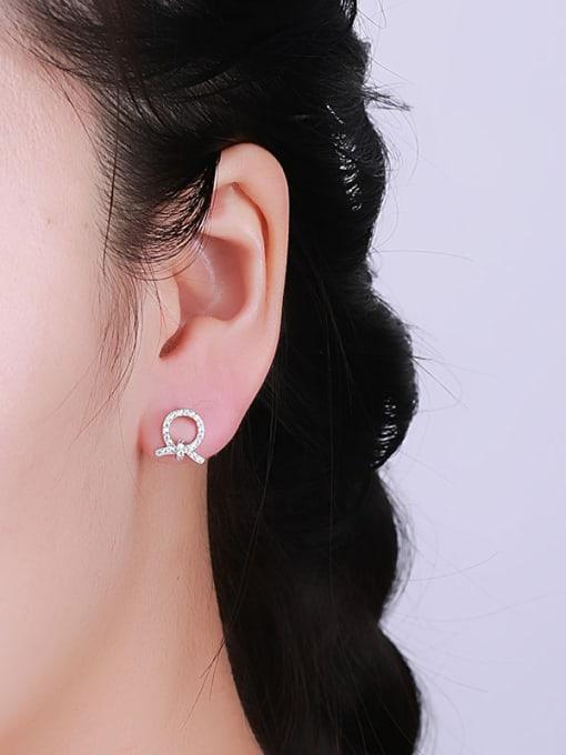 One Silver Women Trendy Bowknot Shaped Earrings 1