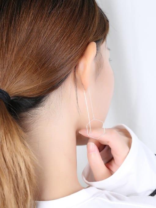 Peng Yuan Simple Hexagon-shaped Silver Line threader earring 2