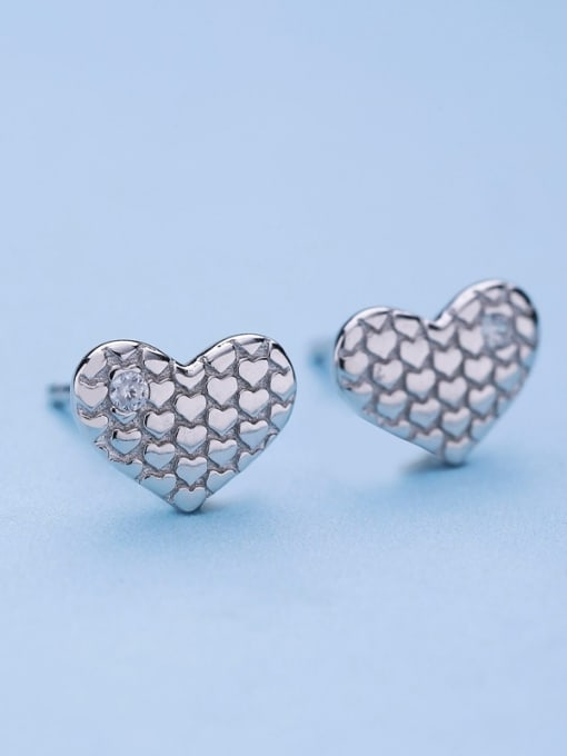 One Silver Women Fashion Heart Shaped Earrings 3