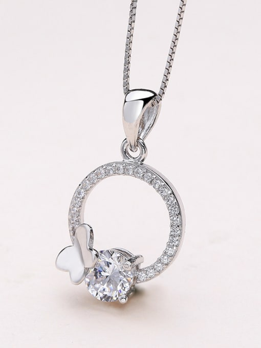 One Silver Women Round Shaped Zircon Pendant 0