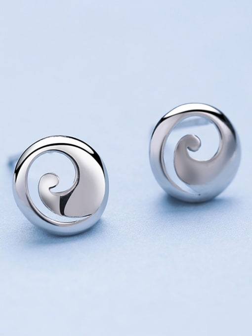 One Silver Women Exquisite Round Shaped stud Earring 2
