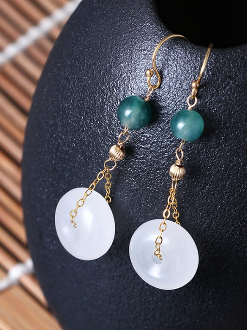 SILVER MI Elegant Jade Retro Style Drop Earrings