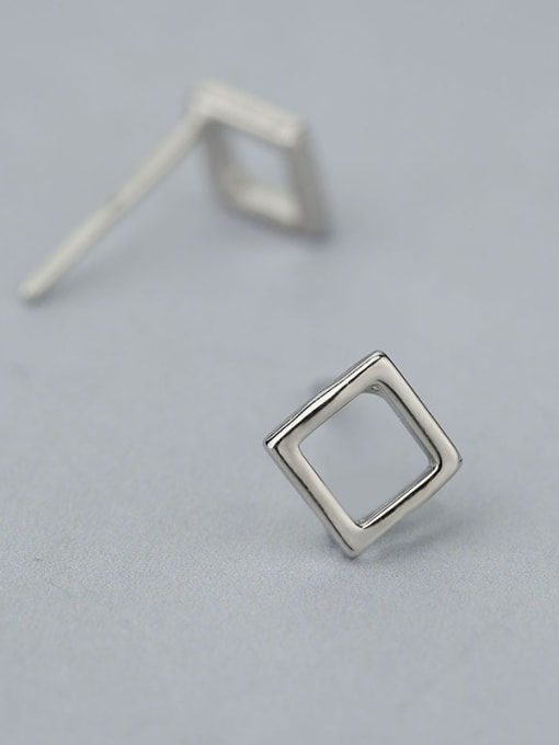 One Silver Natural Style Square Shaped stud Earring 2